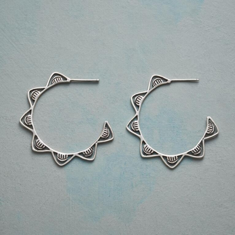 WHITE CAPS HOOP EARRINGS