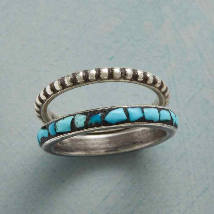 STONE & SILVER STACKING RINGS, SET OF 2