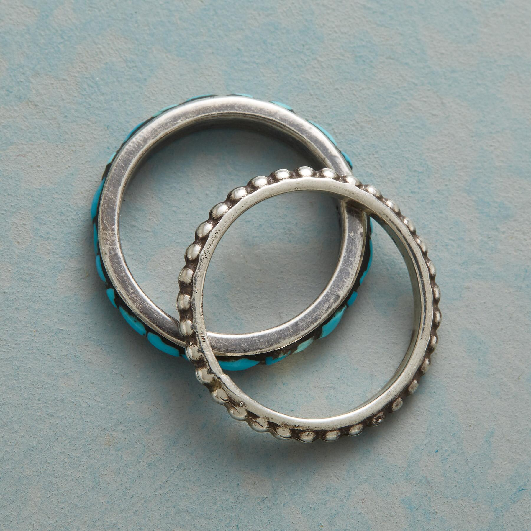 STONE & SILVER STACKING RINGS, SET OF 2: View 2