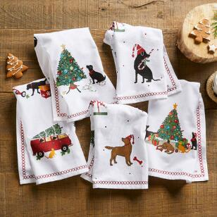 DOG DAYS DISH TOWELS, SET OF 5