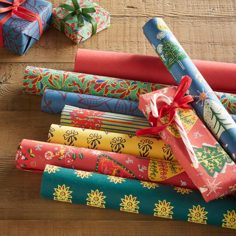 FESTIVE MIX WRAPPING PAPER, SET OF 8