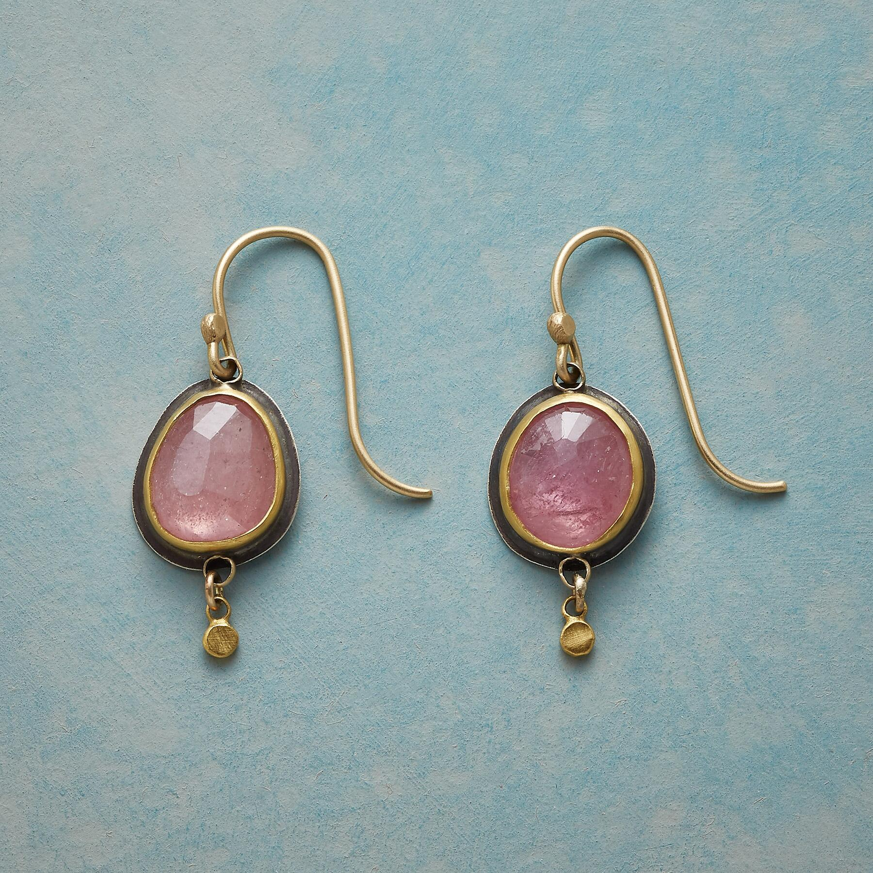 PUNCTUATED PINK SAPPHIRE EARRINGS: View 1