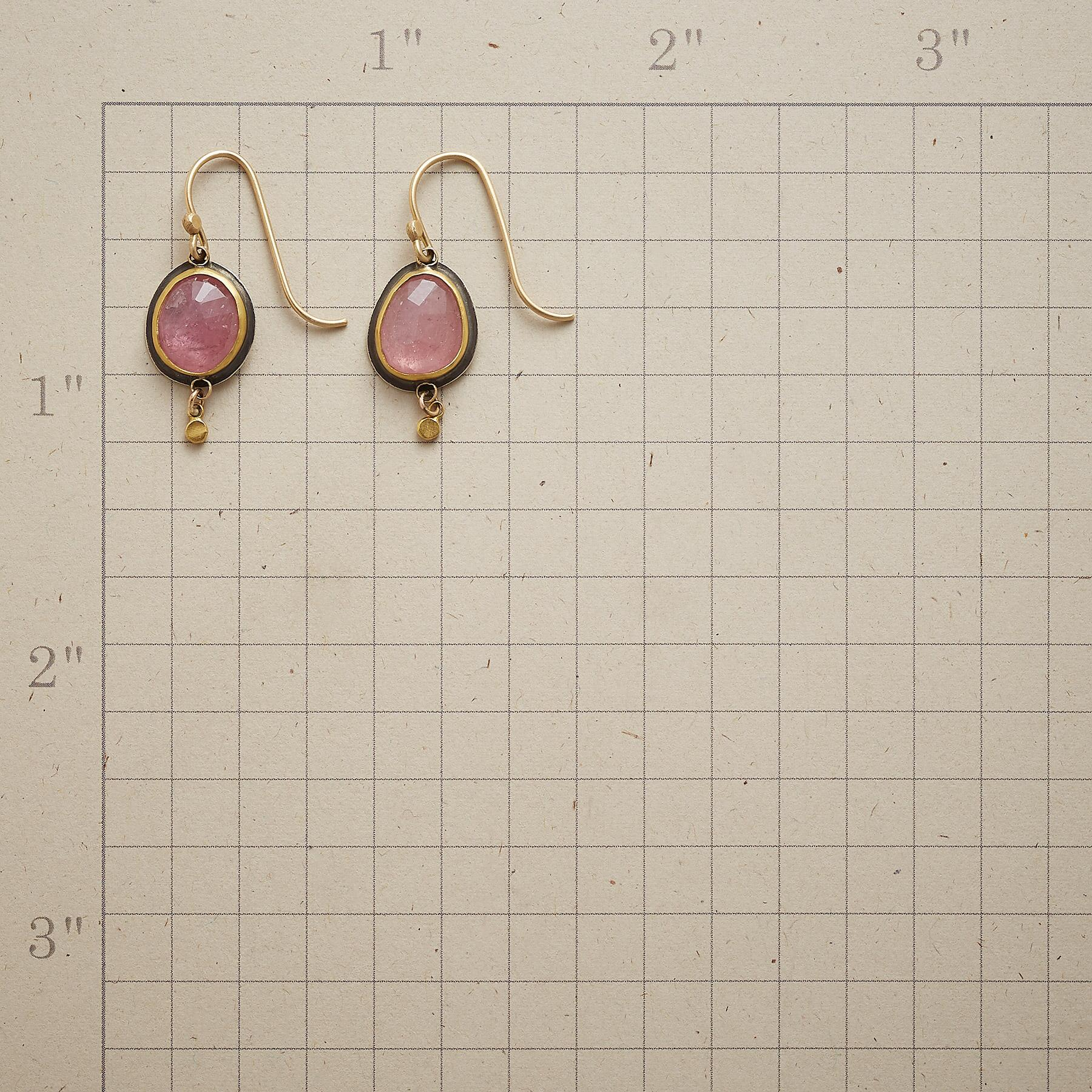 PUNCTUATED PINK SAPPHIRE EARRINGS: View 2