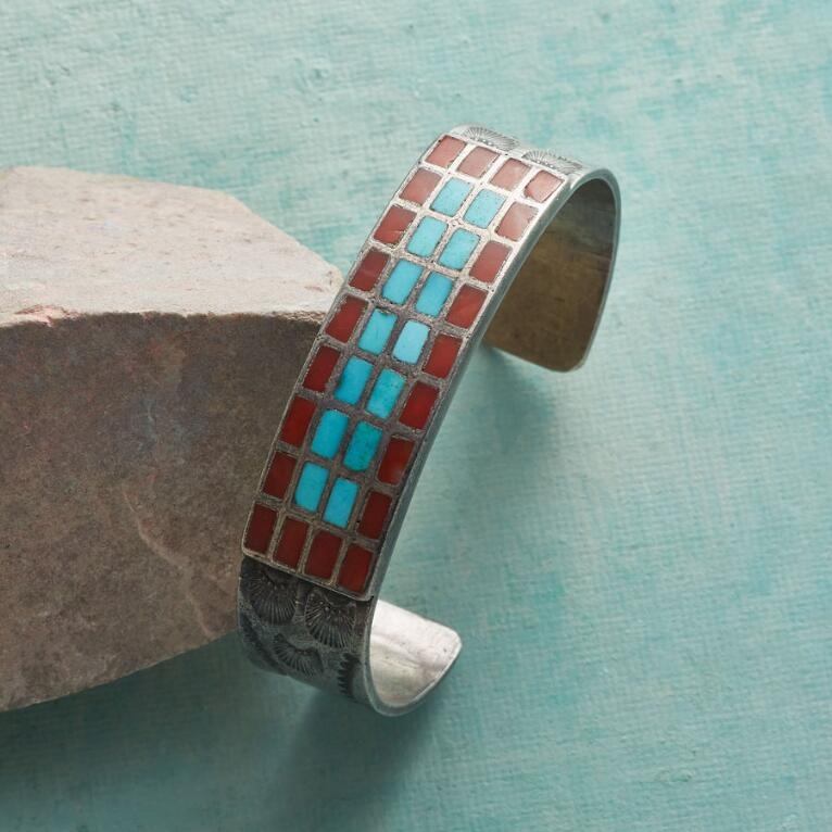 1960S CORAL AND MORENCI TURQUOISE CUFF