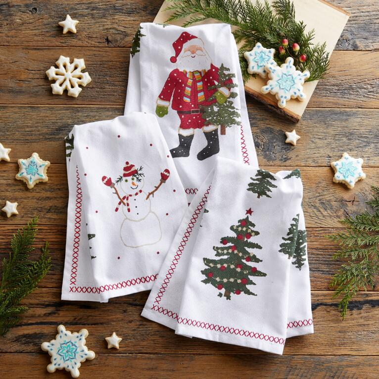 HOLIDAY TEA TOWELS, SET OF 3