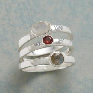 CONTRASTING STACKING RINGS, SET OF 3