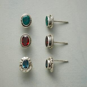 GEMSTONE ANTHOLOGY EARRING TRIO, SET OF 3