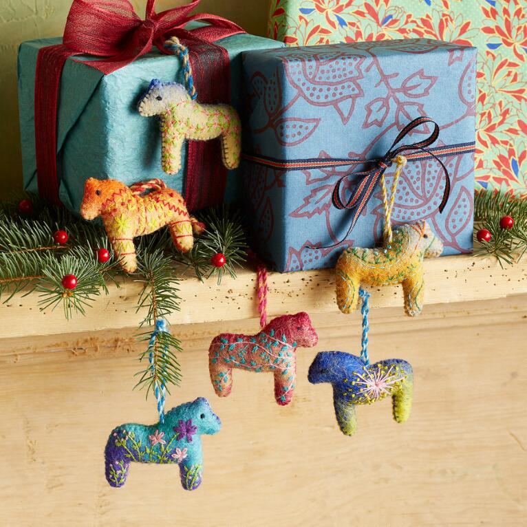PONY CLUB ORNAMENTS, SET OF 6
