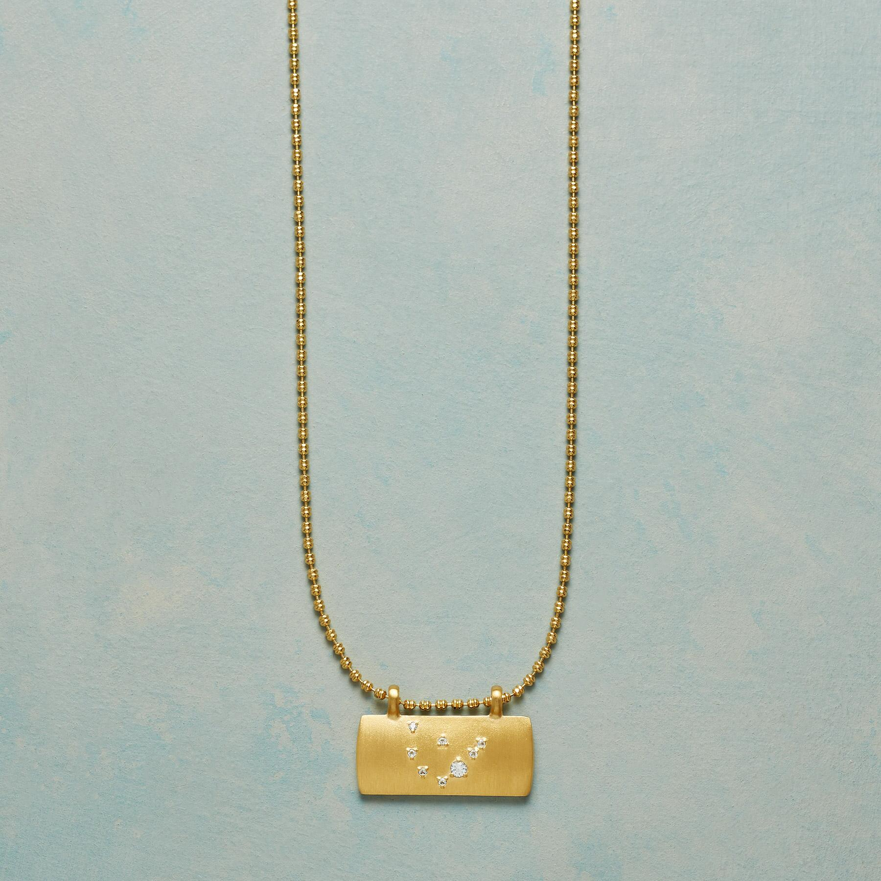 GOLD PLATE ASTROLOGICAL PENDANT NECKLACE: View 1
