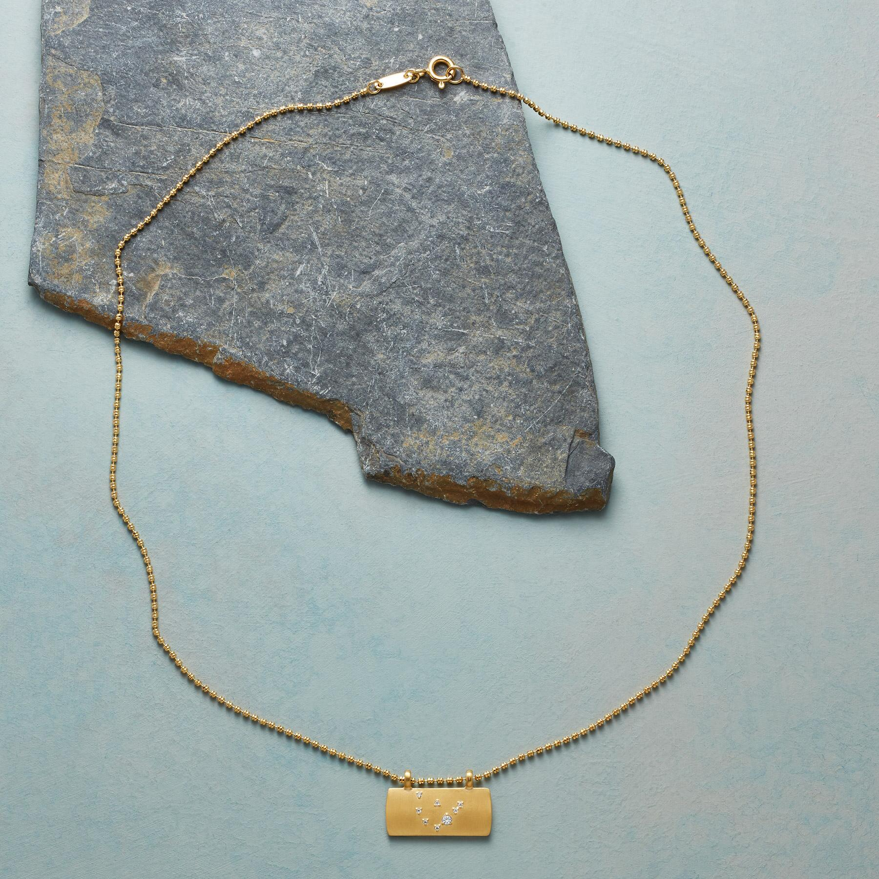 GOLD PLATE ASTROLOGICAL PENDANT NECKLACE: View 2