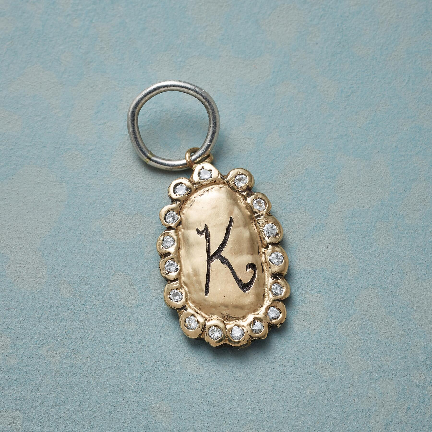 GOLD DIAMOND LETTER CHARM: View 1