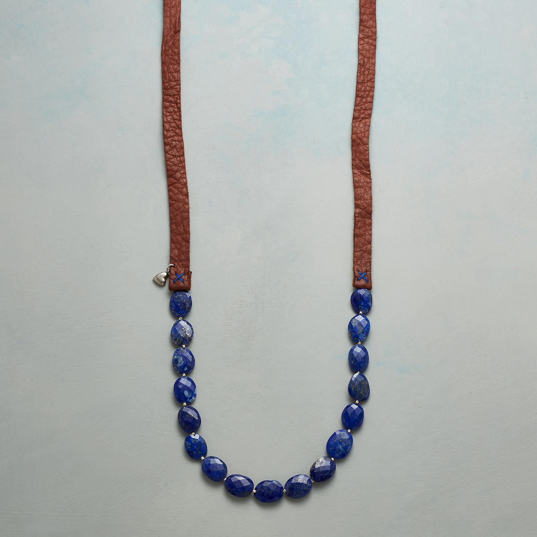 LAPIS ON LEATHER NECKLACE: View 1
