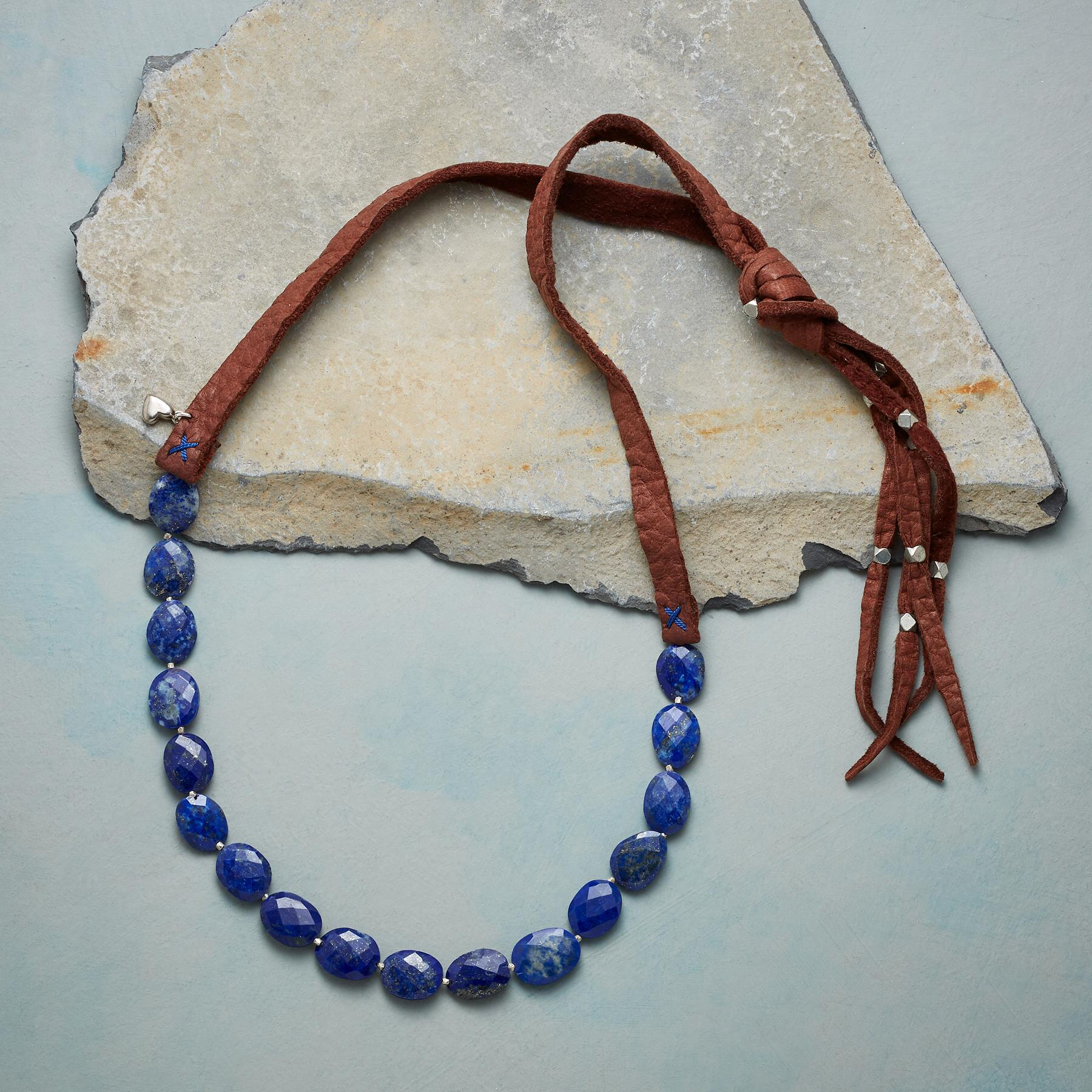 LAPIS ON LEATHER NECKLACE: View 2