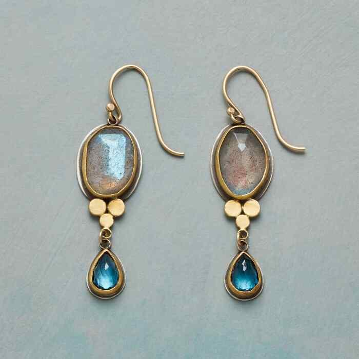Labradorite and Blue Topaz Earrings
