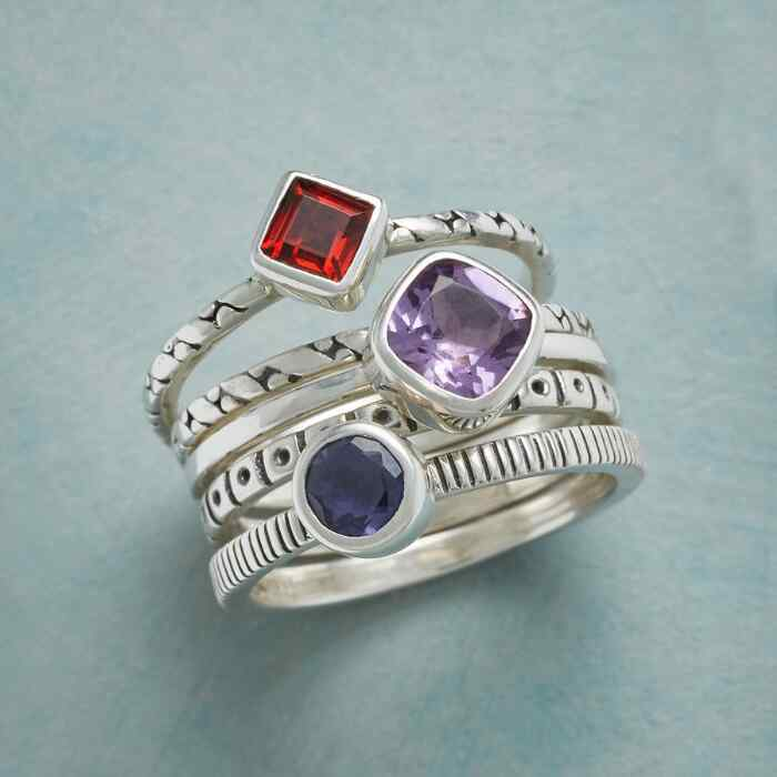 PLENTITUDE OF GEMS STACKING RINGS S/5