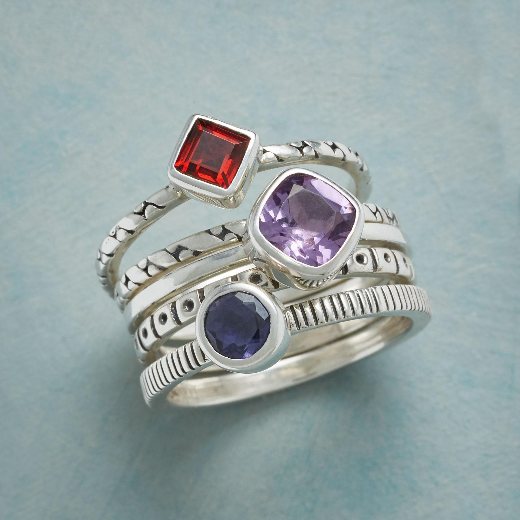PLENTITUDE OF GEMS STACKING RINGS S/5: View 1