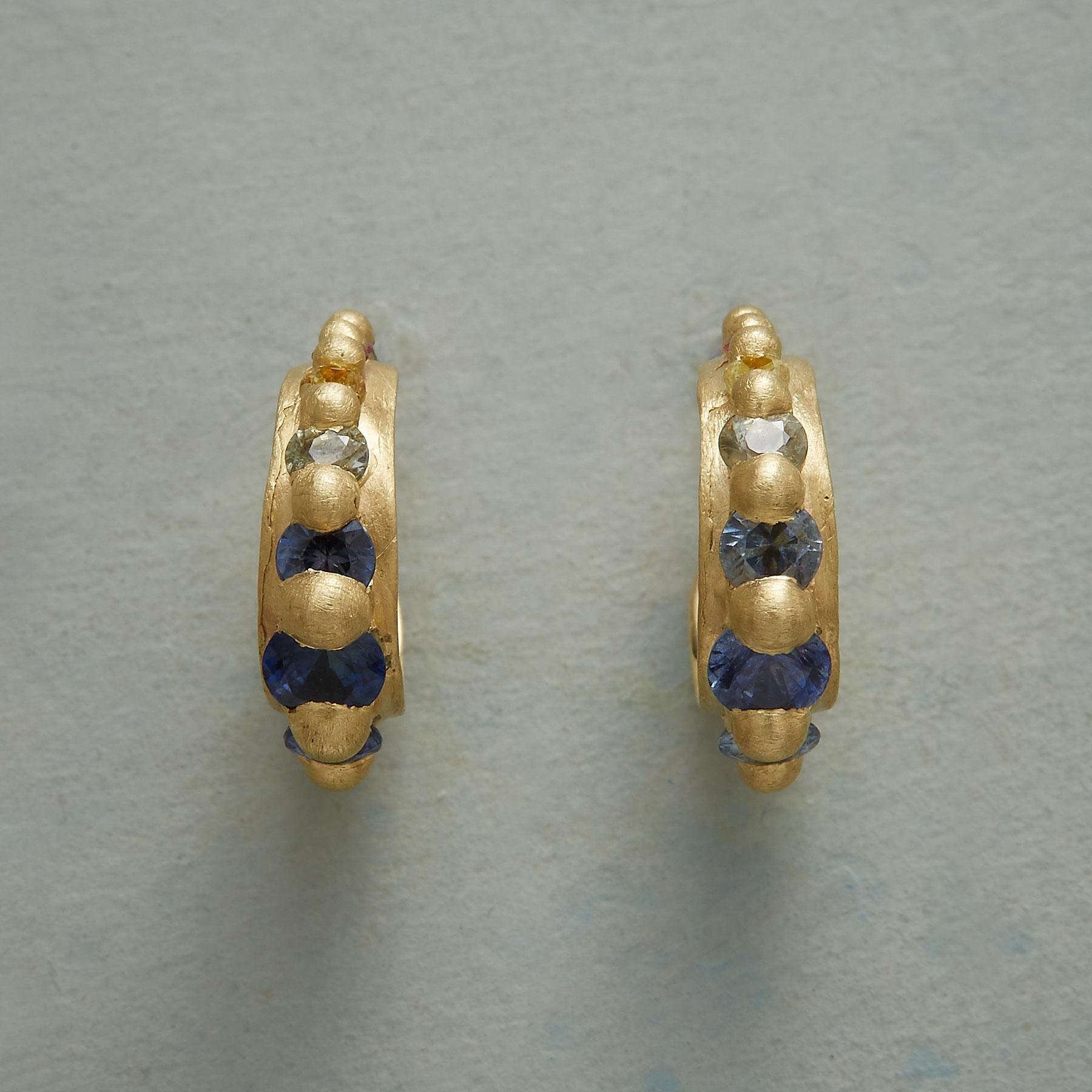 SAPPHIRE RAINBOW HOOP EARRINGS: View 1