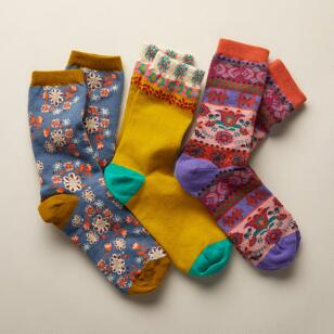 ENCHANTED GARDEN SOCKS, SET OF 3