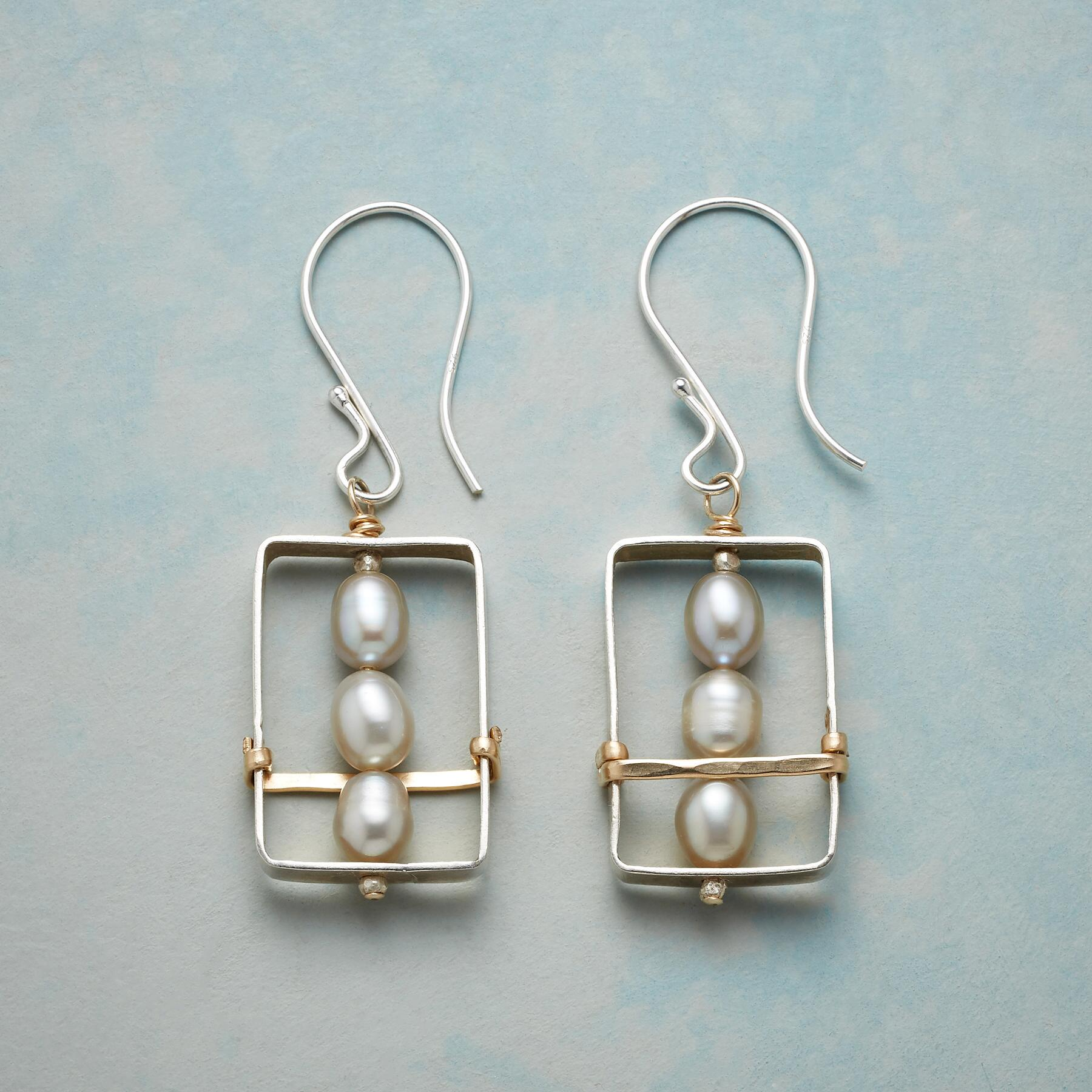 FRAMED PEARL EARRINGS: View 1