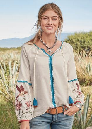 PALOMA EMBROIDERED TOP - PETITES