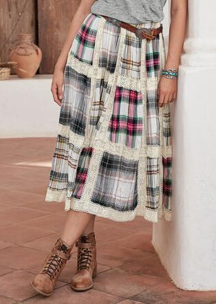 PATCHWORK PLAID SKIRT - PETITES