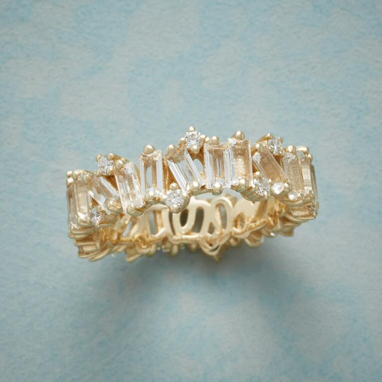 WHITE TOPAZ & DIAMONDS RING