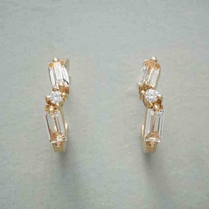TOPAZ & DIAMOND HOOP EARRINGS