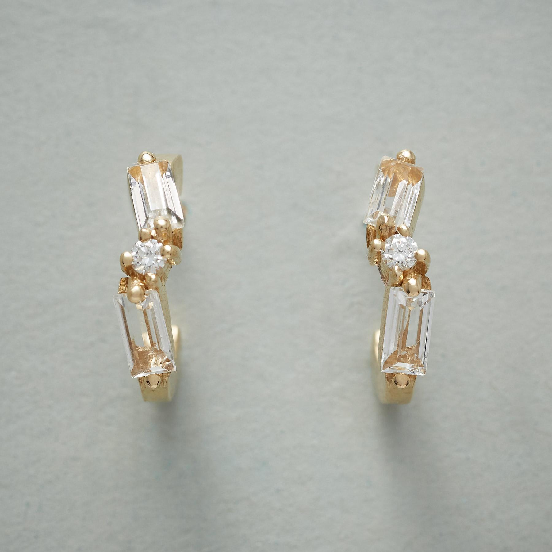 TOPAZ & DIAMOND HOOP EARRINGS: View 1
