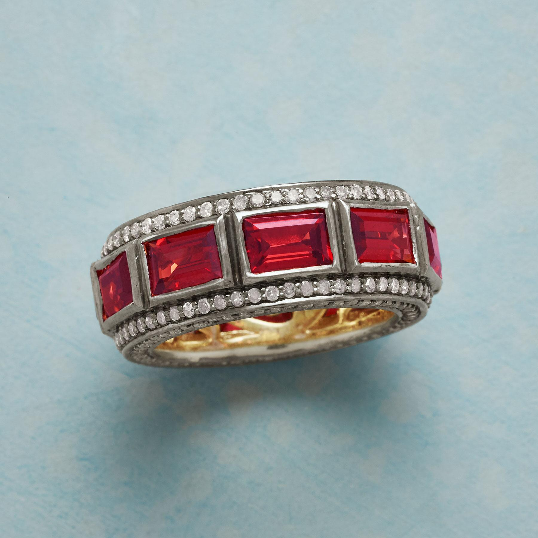 GARNET DECADE RING: View 1