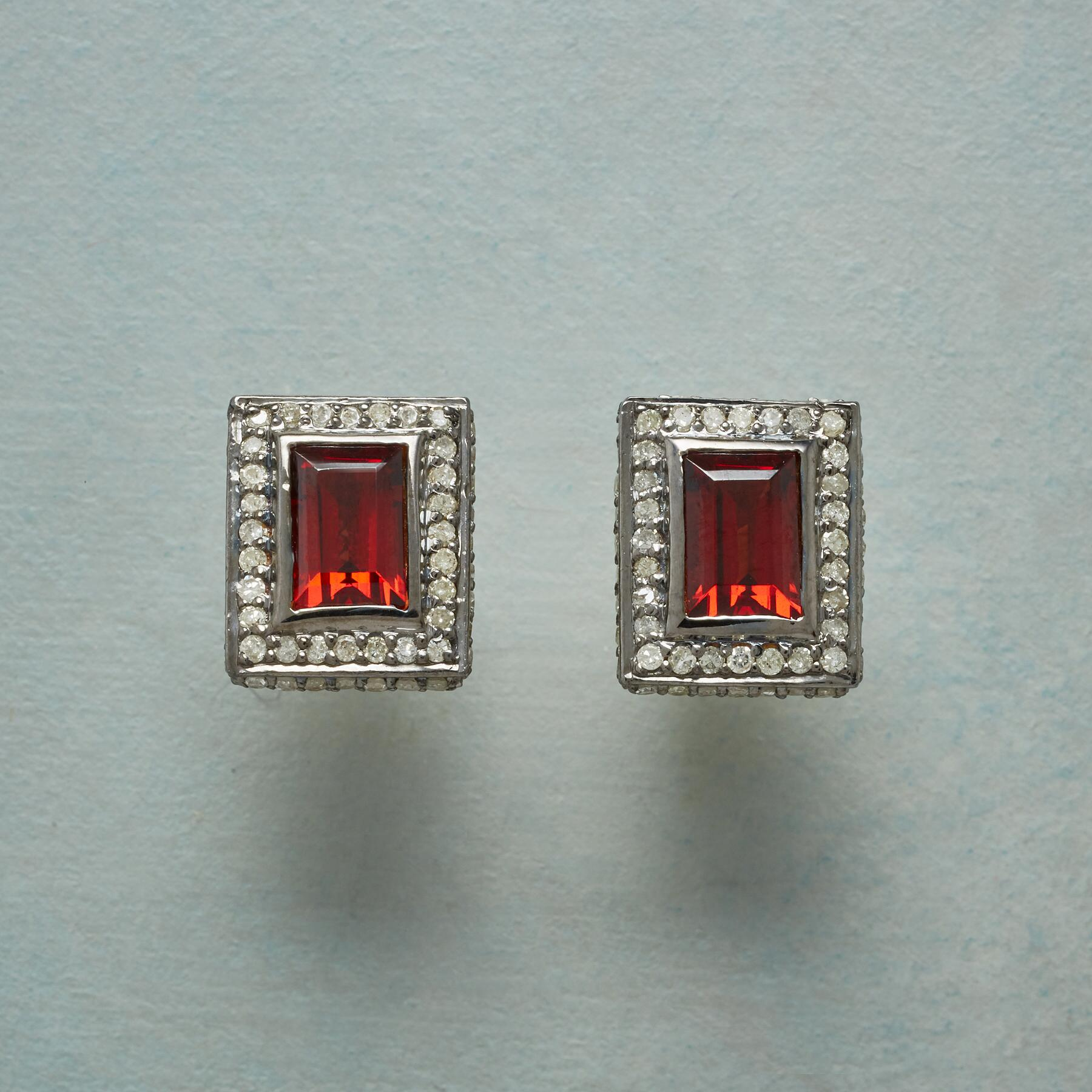 GARNET PICTURE EARRINGS: View 1