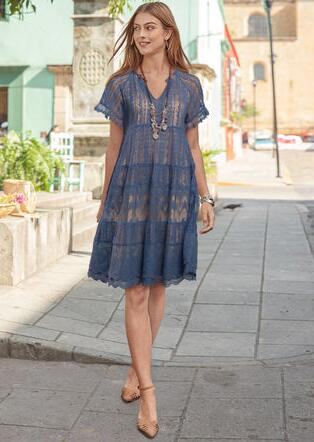 SWEEP OF LACE DRESS - PETITES