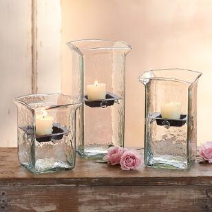 BLOWN GLASS ORGANIC SQUARE HURRICANES, SET OF 3