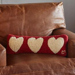 THREE HEARTS BOLSTER PILLOW