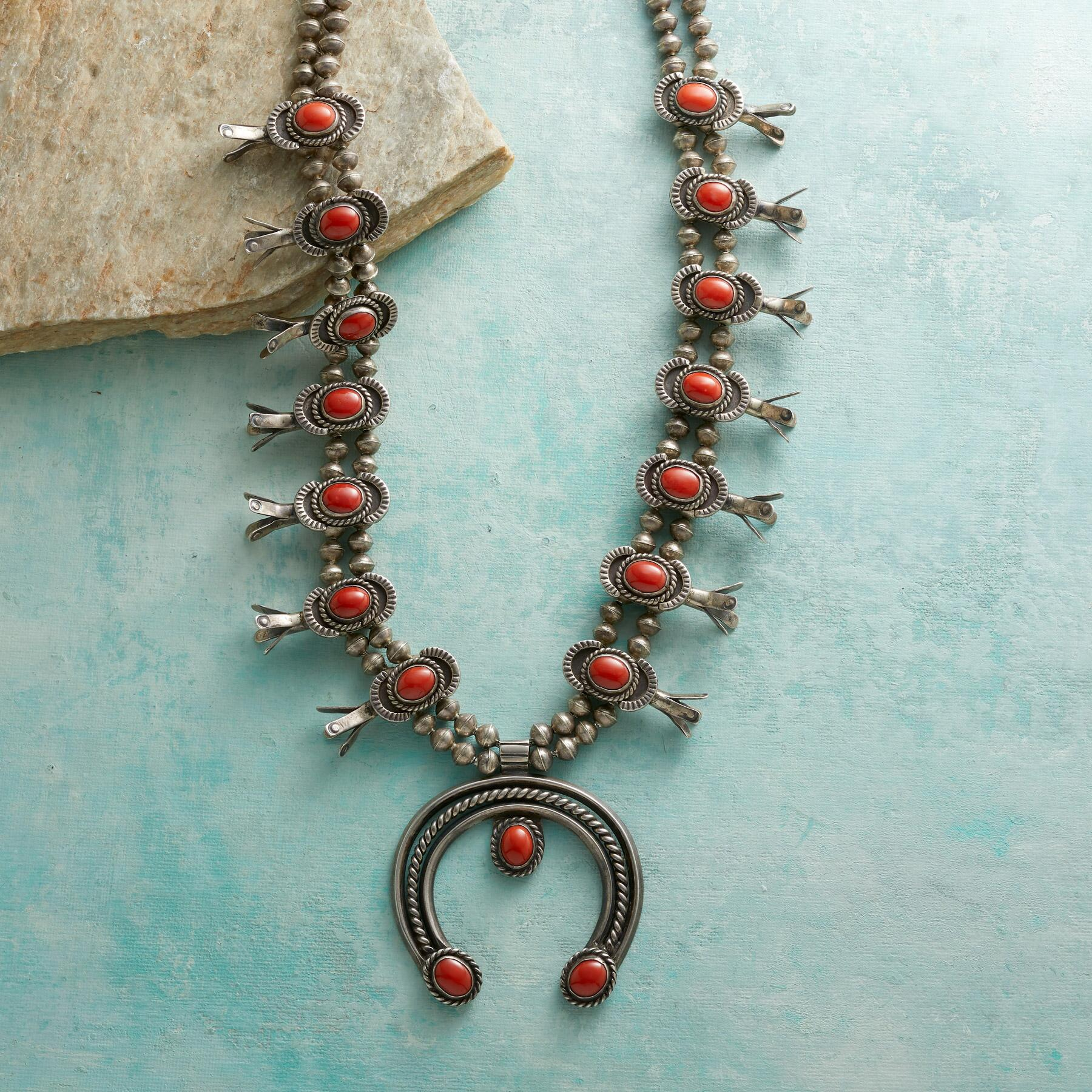 1950S CORAL SQUASH BLOSSOM NECKLACE: View 1