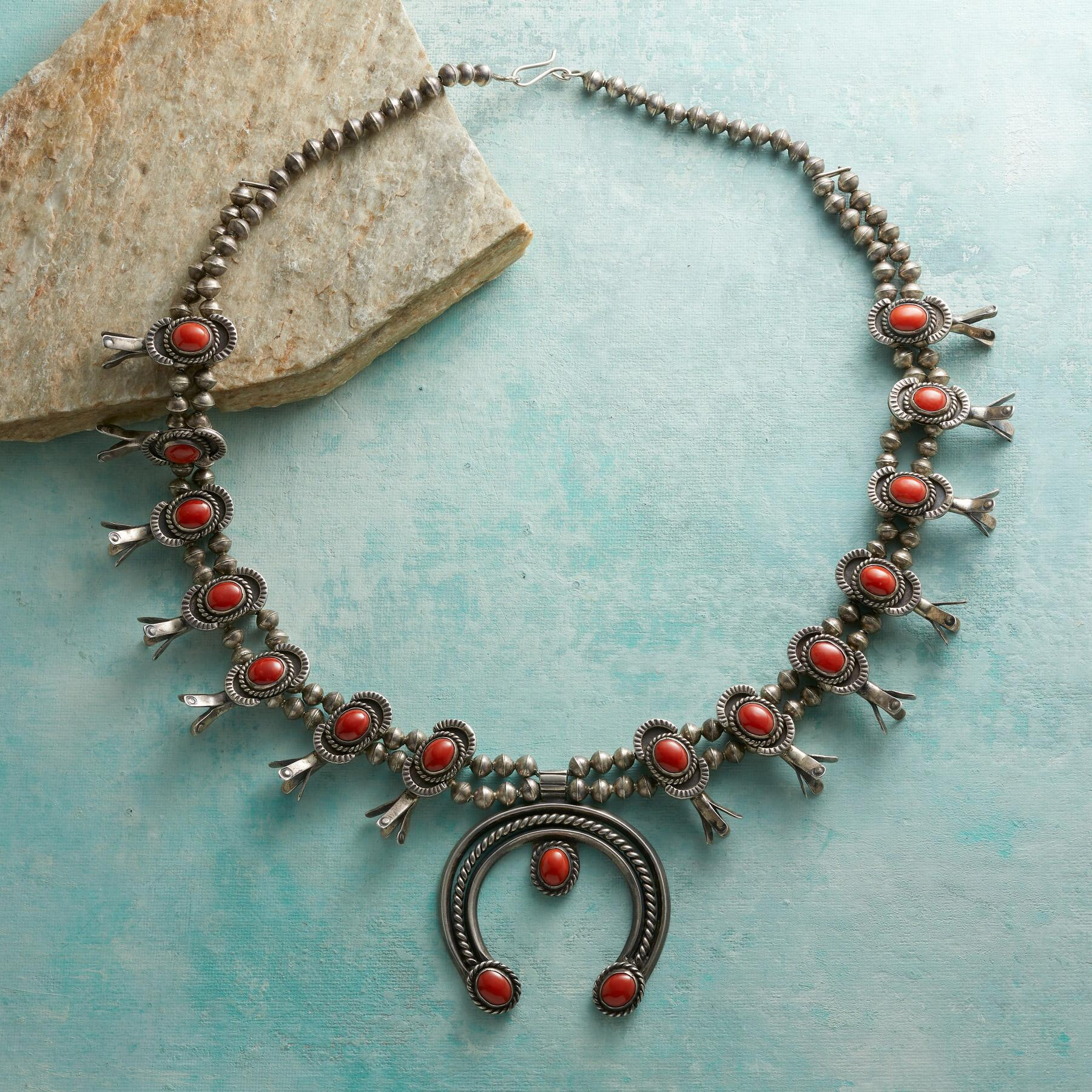 1950S CORAL SQUASH BLOSSOM NECKLACE: View 2