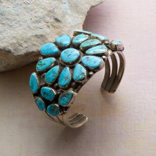 1940S BLUE GEM TURQUOISE CUFF