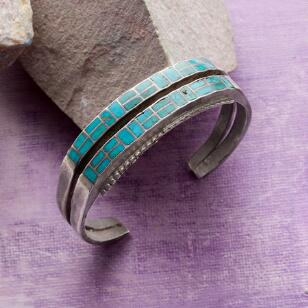 1950S DOUBLE ROW TURQUOISE CUFF