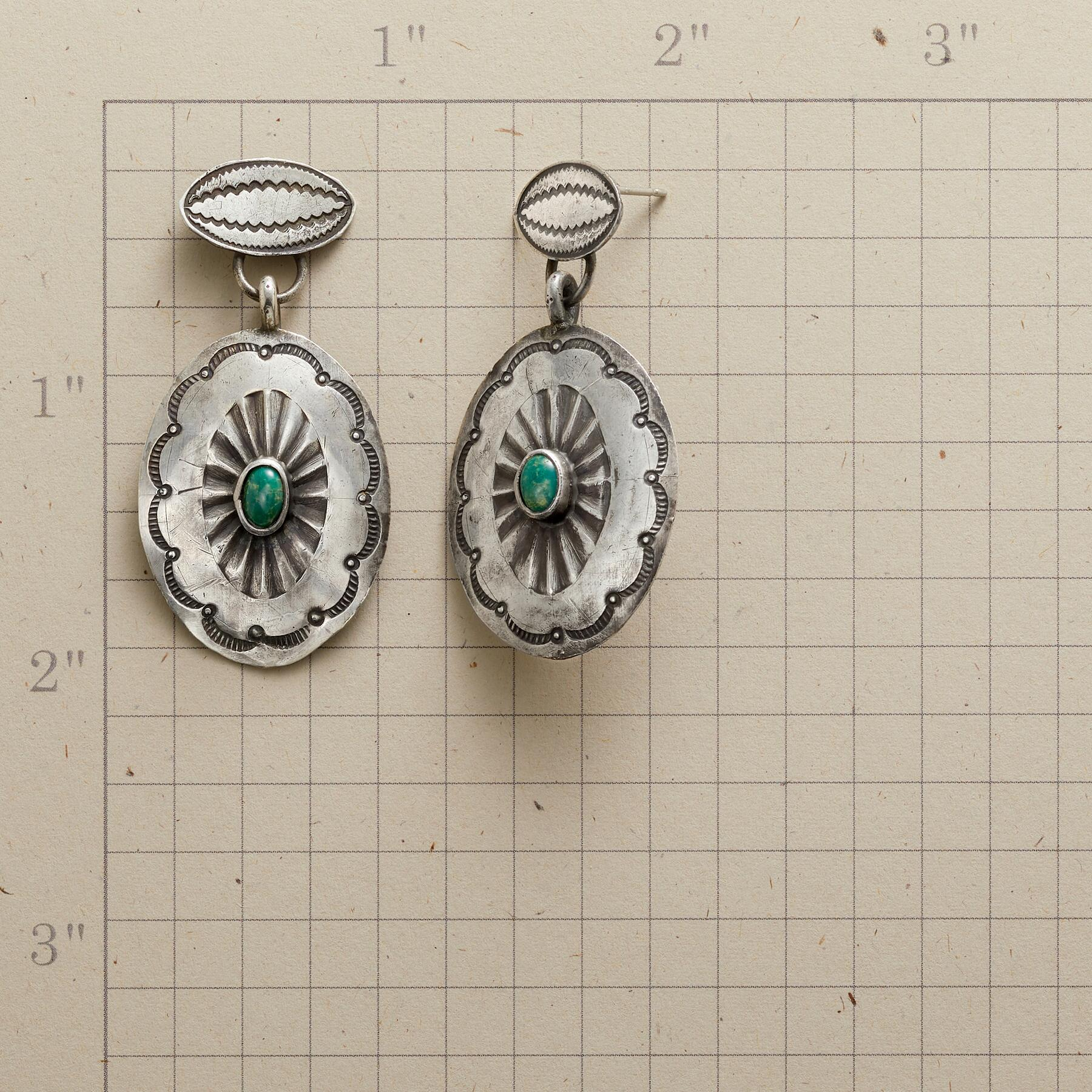 1930S TURQUOISE CONCHO EARRINGS: View 2