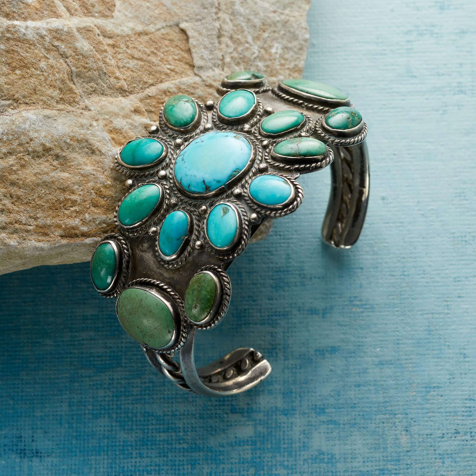 1930S FLOWERING FOX TURQUOISE CUFF: View 1