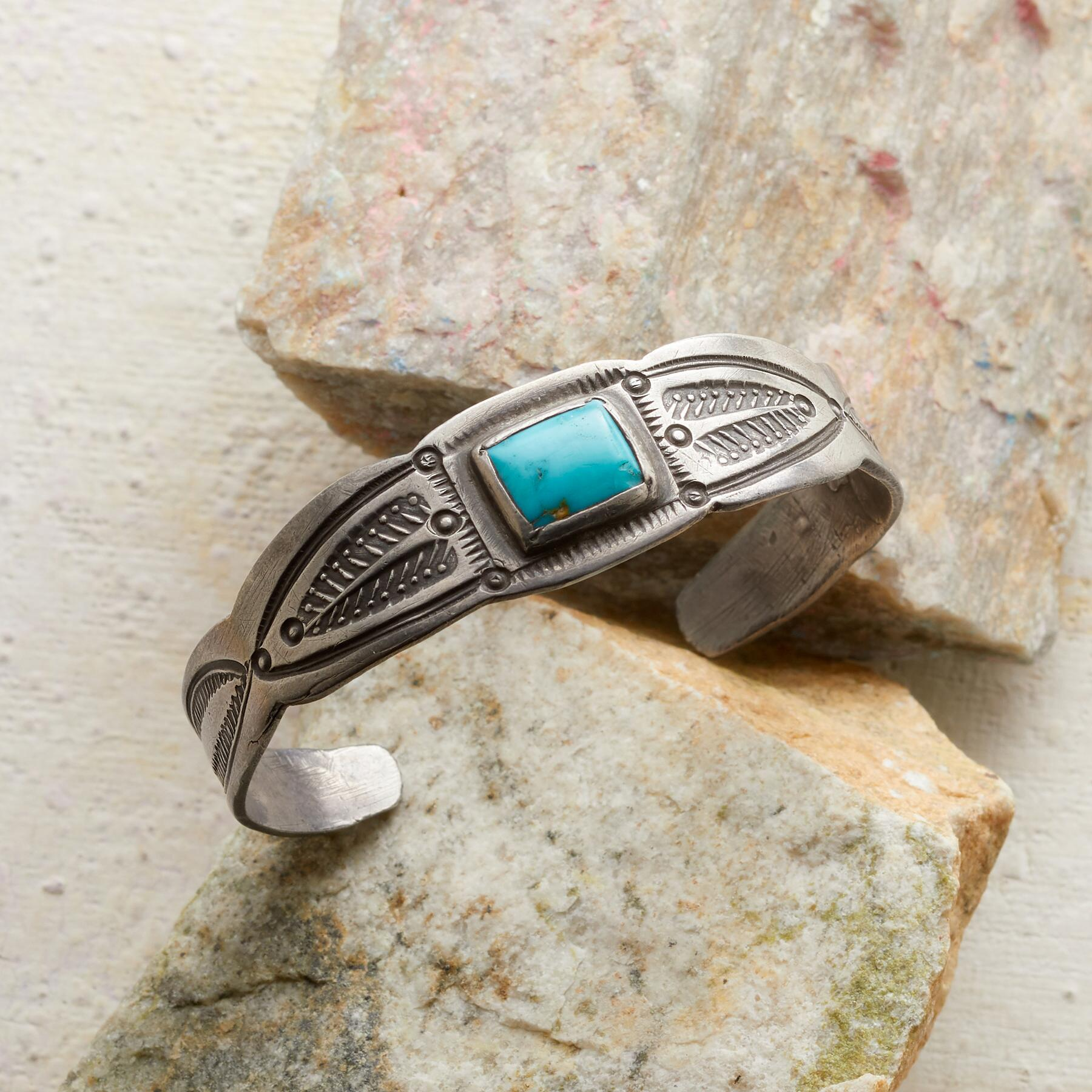 1940S PROSPERITY TURQUOISE CUFF: View 1