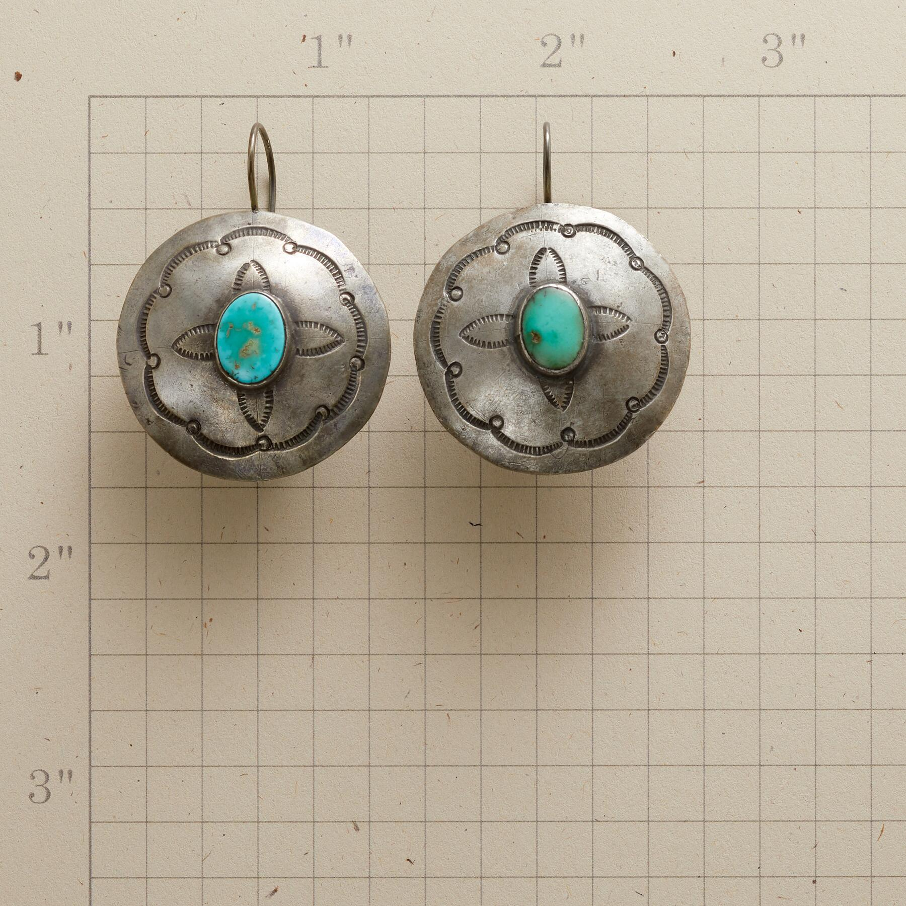 1940S TURQUOISE BUTTON EARRINGS: View 2