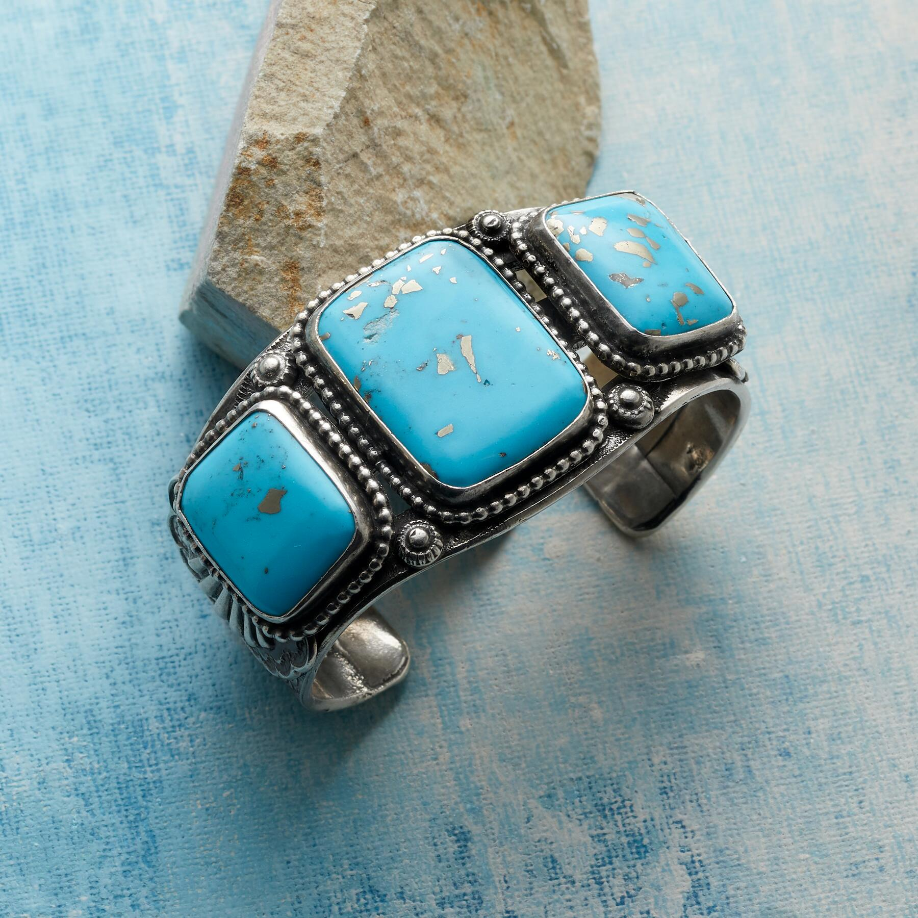 JOE EBY TURQUOISE SQUARES CUFF: View 1