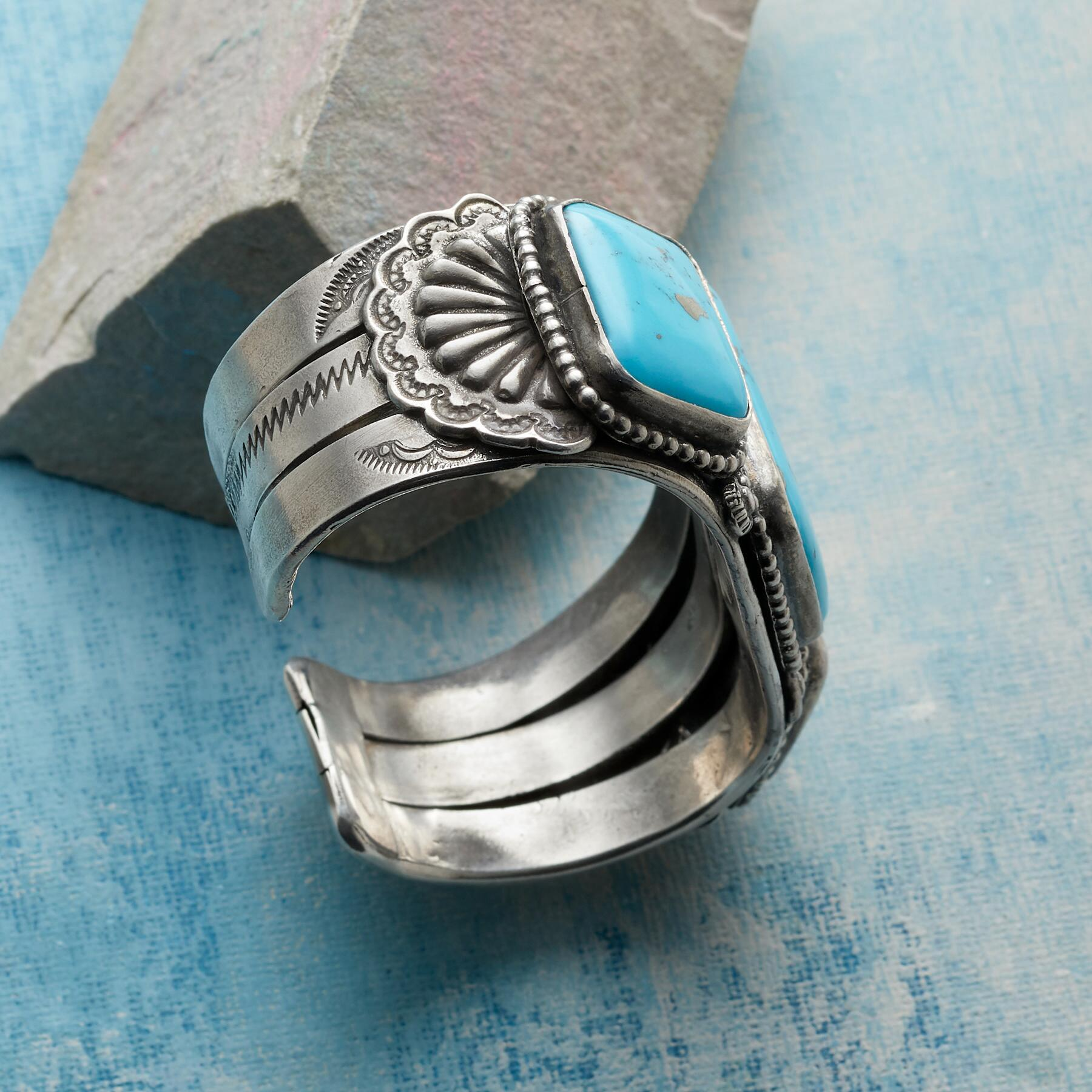 JOE EBY TURQUOISE SQUARES CUFF: View 2