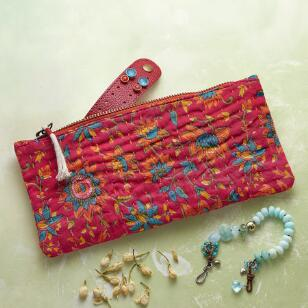 KANTHA STITCHERY JEWELRY ZIPPED POUCH