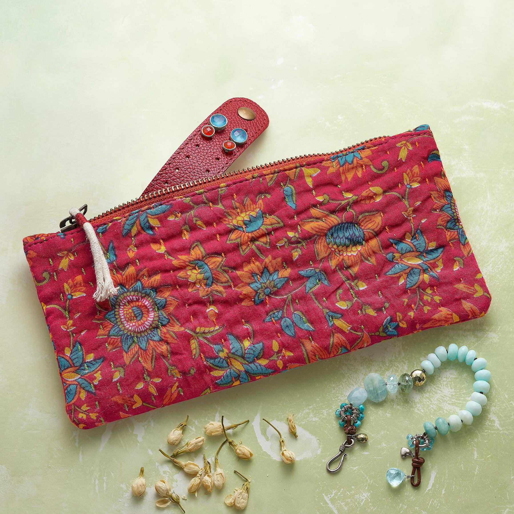 KANTHA STITCHERY JEWELRY ZIPPED POUCH: View 1
