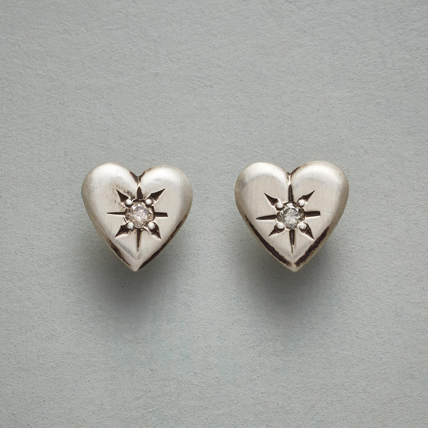 DIAMOND HEART EARRINGS: View 1