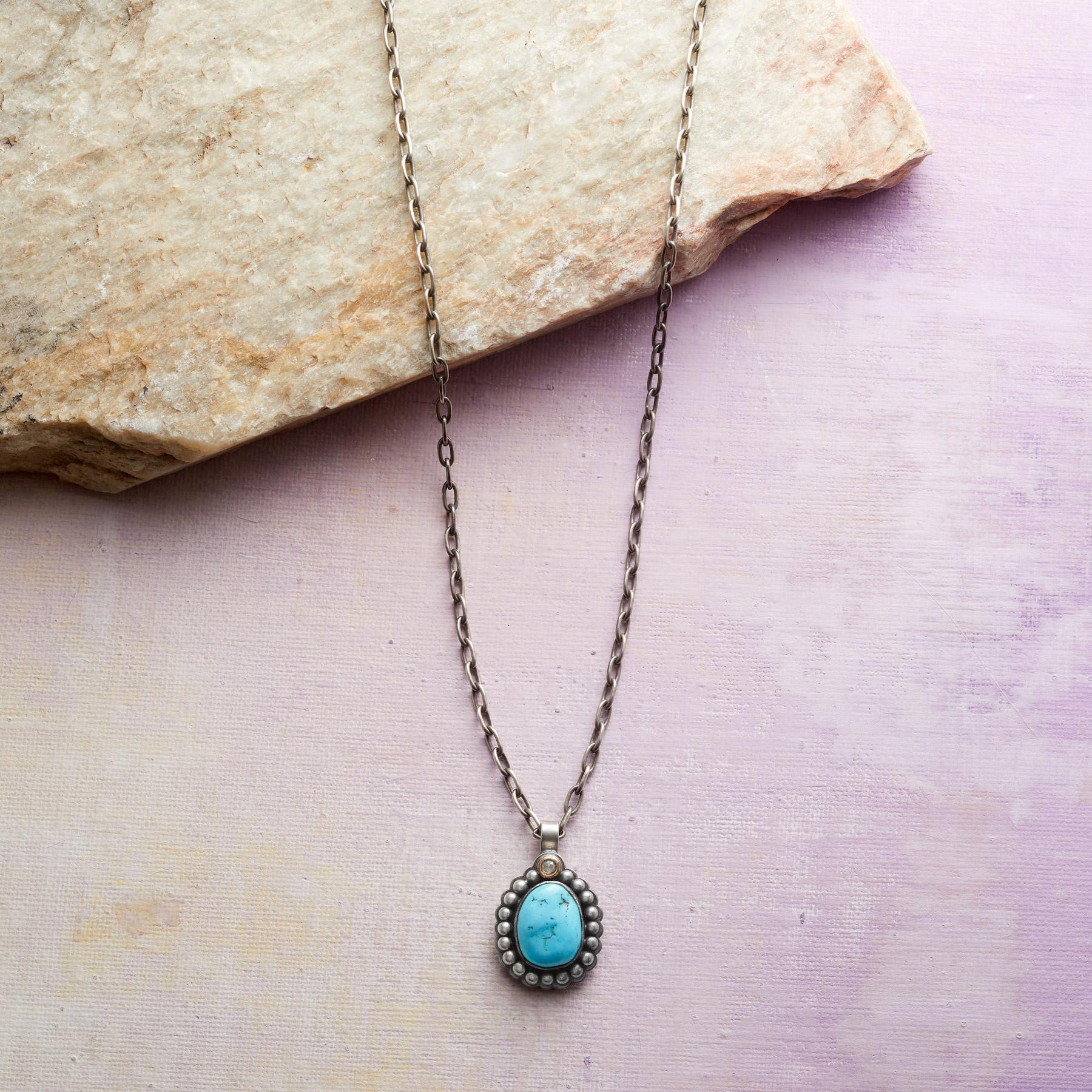 TURQUOISE & DIAMOND NECKLACE: View 1