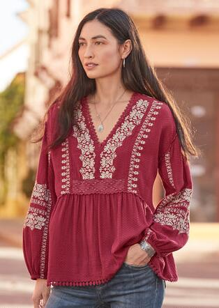 NADIA EMBROIDERED BLOUSE - PETITES
