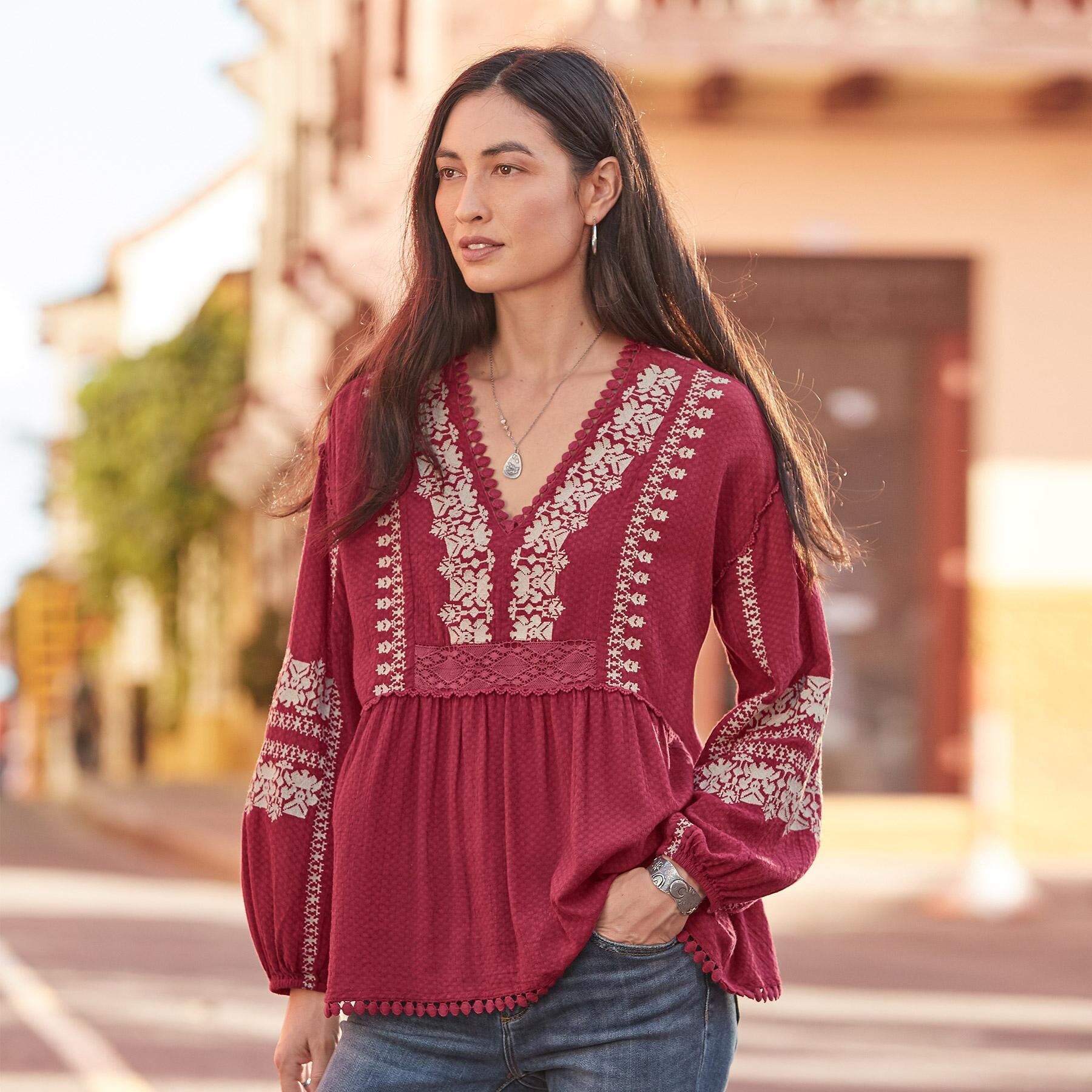 NADIA EMBROIDERED BLOUSE PETITE: View 1