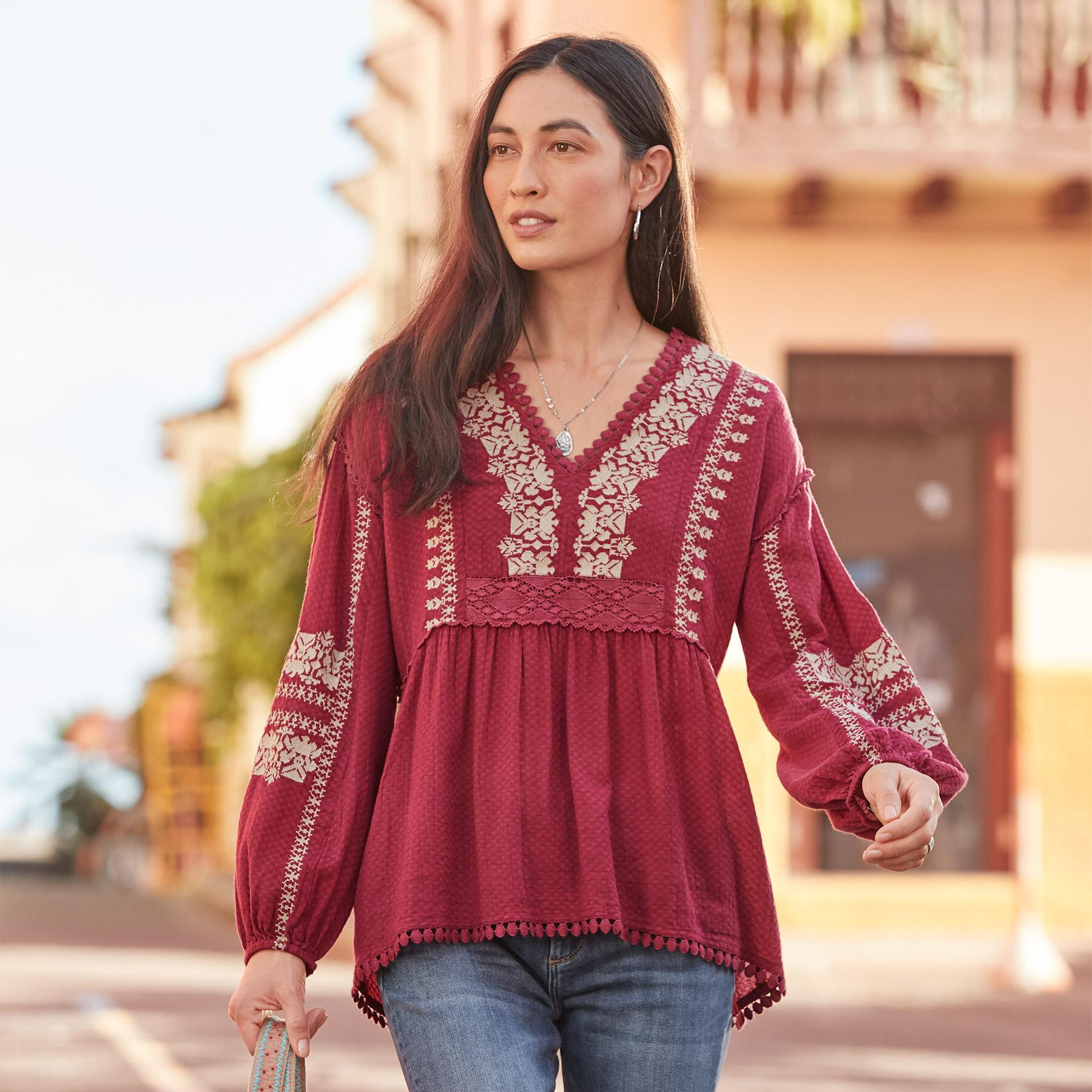 NADIA EMBROIDERED BLOUSE PETITE: View 2